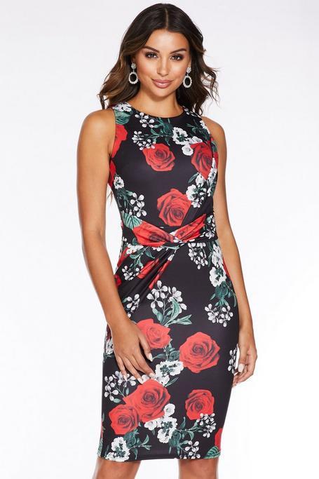 Vestido Midi Floral Negro y Rojo con Detalle de Nudo