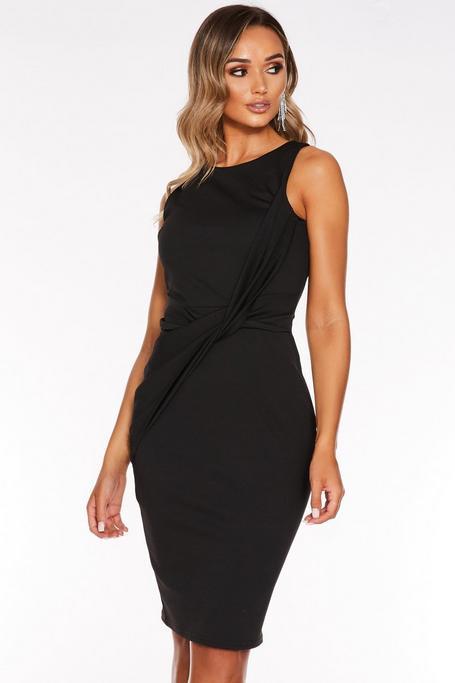 Vestido Midi Negro Ajustado con Detalle de Nudo