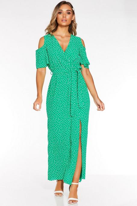 Vestido Largo Verde con Lunares y Hombros Descubiertos