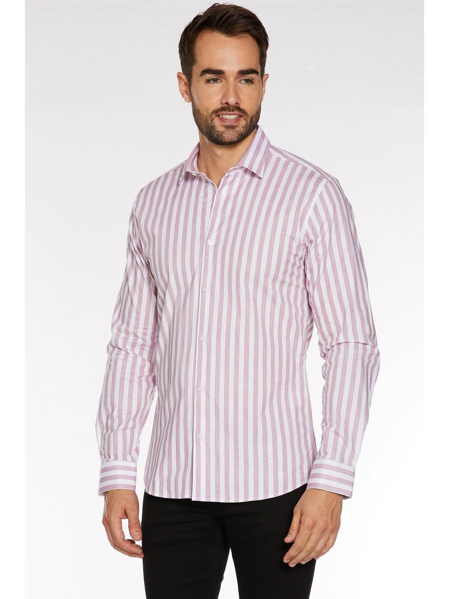 Long Sleeve Shirt with Pink Faded Stripes