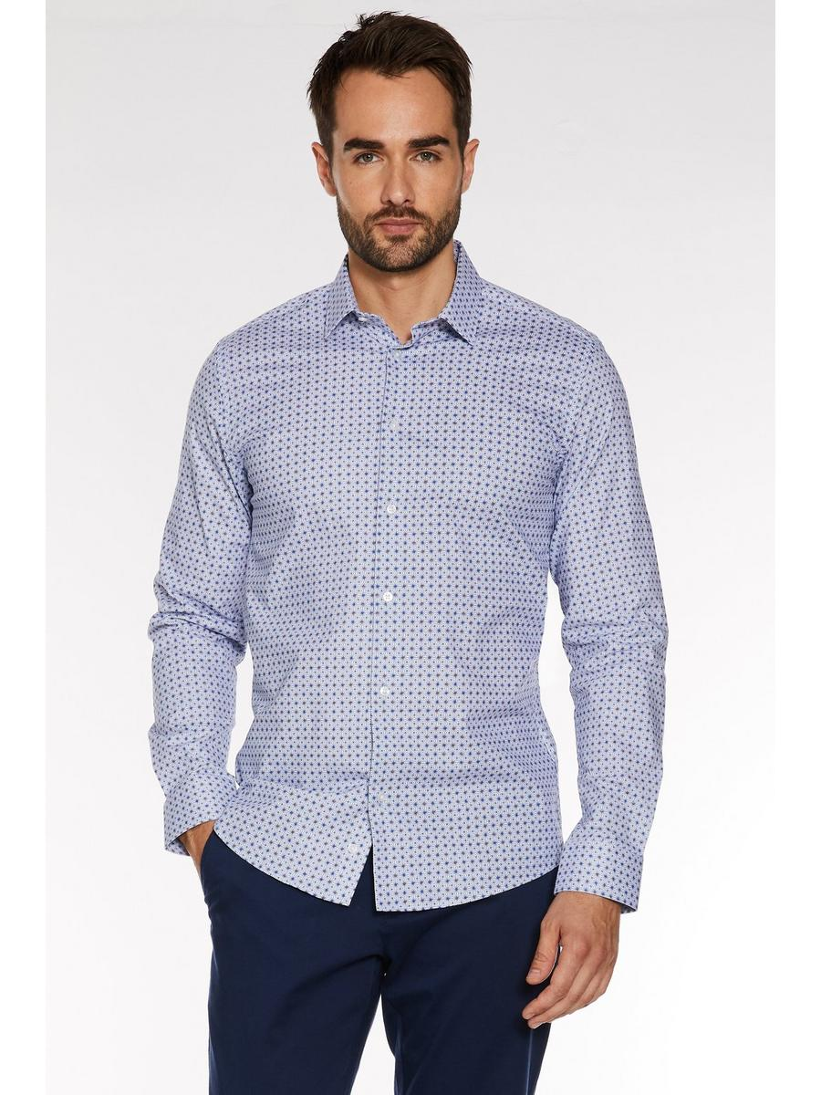 Slim Fit Long Sleeve Geo Print Shirt