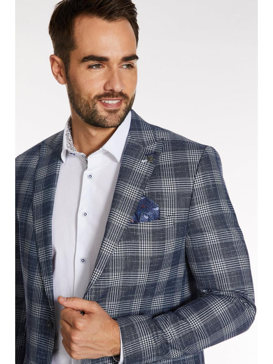 White Fleck Check Blazer in Navy