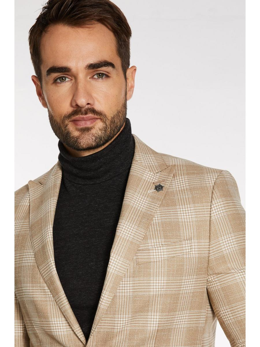 White Fleck Check Blazer in Winter Stone