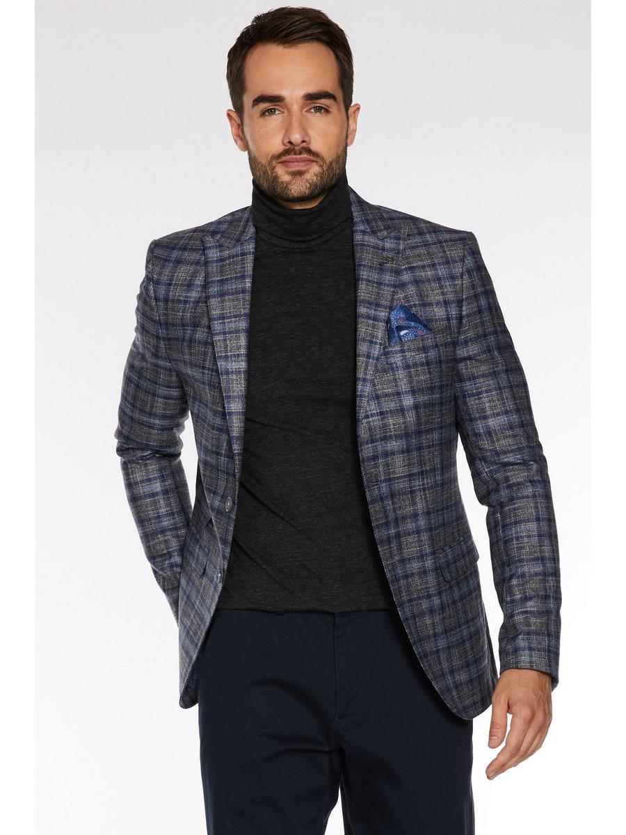 Grid Check Blazer in Grey