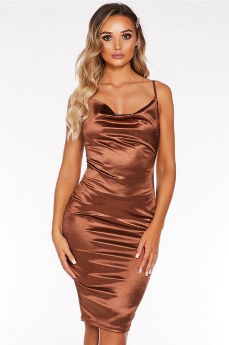 Mocha Cowl Neck Bodycon Midi Dress