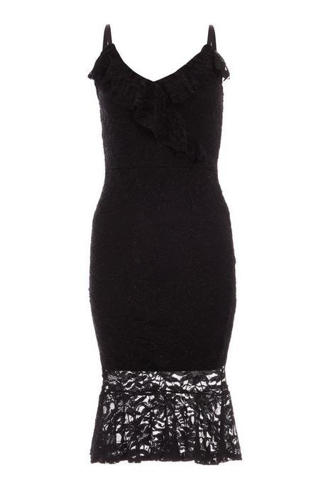 Petite Black Lace V Neck Frill Midi Dress