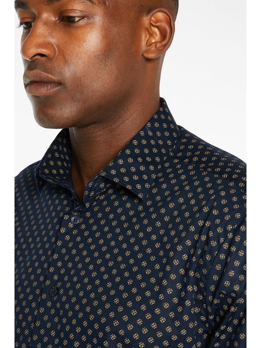 Long Sleeve Diamond Print Shirt In Navy and Mustard