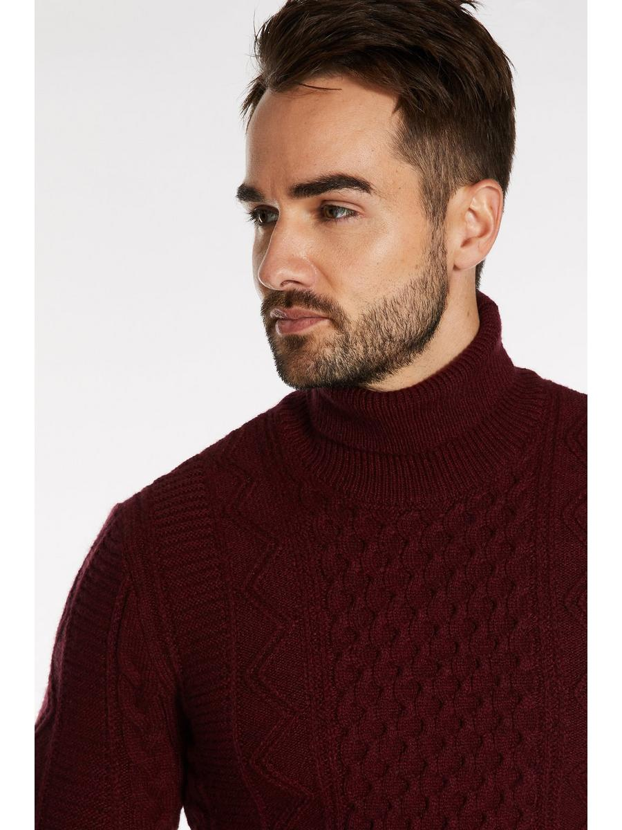 Cable Knit Roll Neck Jumper In Wine
