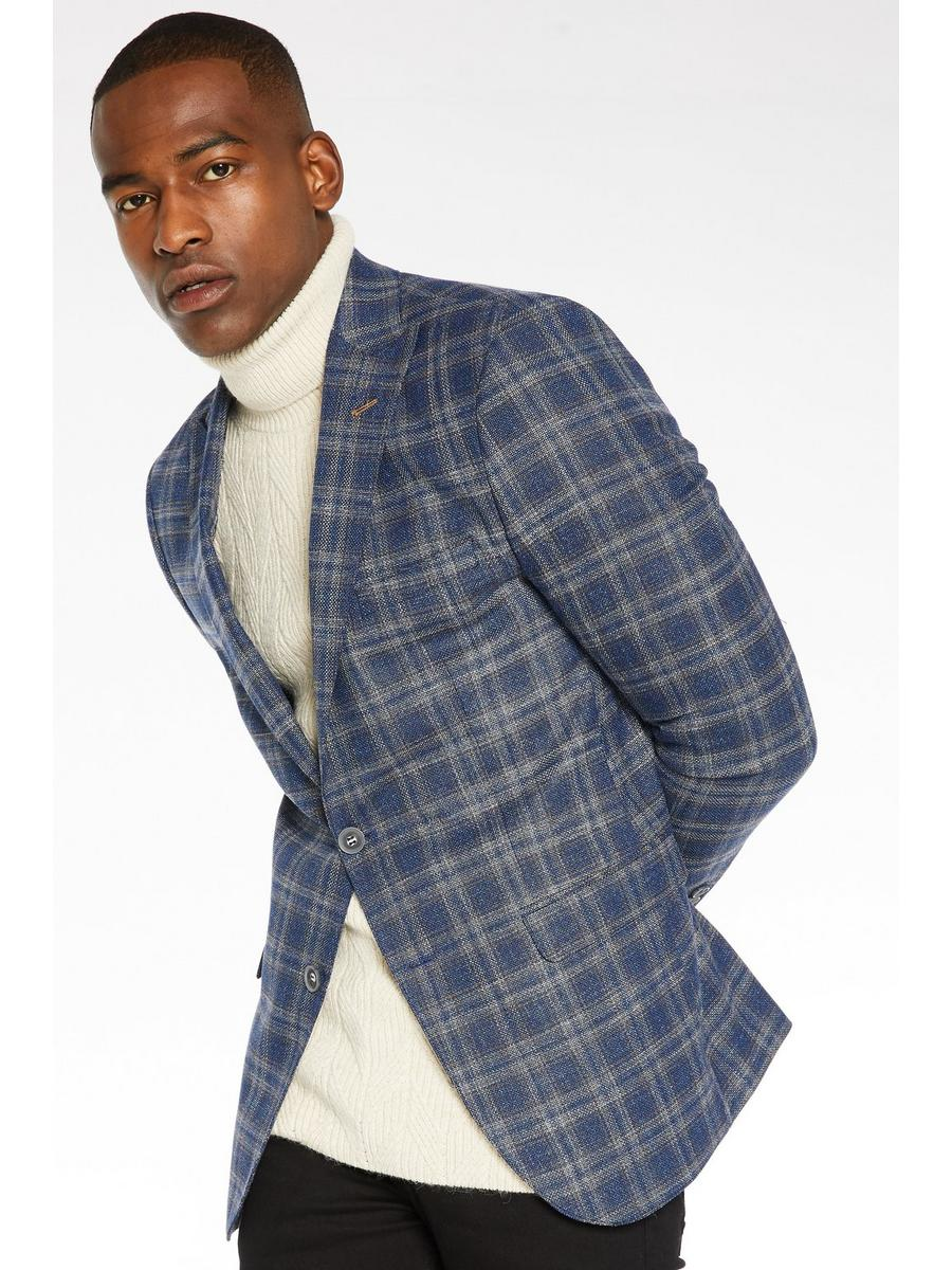 Check Blazer with Peak Lapel In Blue and Mustard