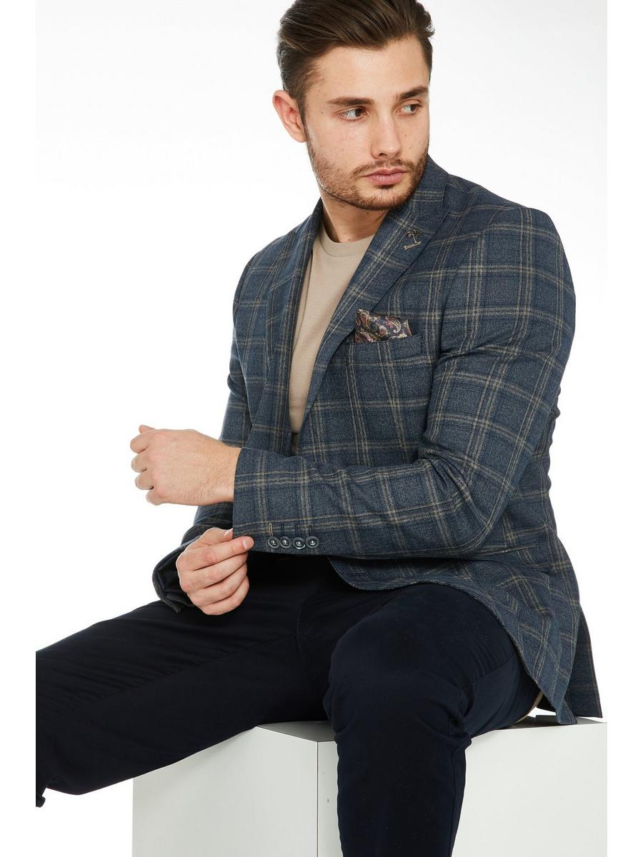 Check Blazer in Navy and Stone