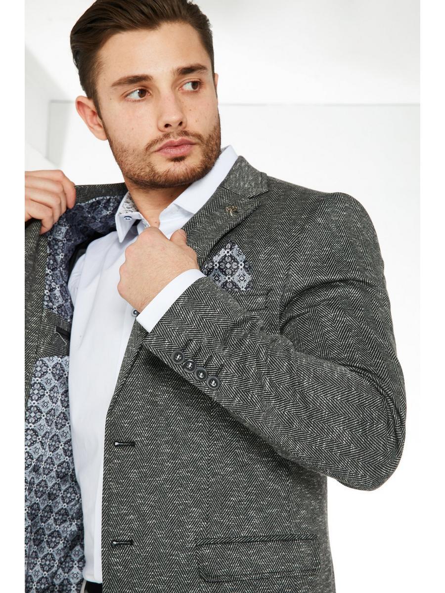 Herringbone Blazer In Grey