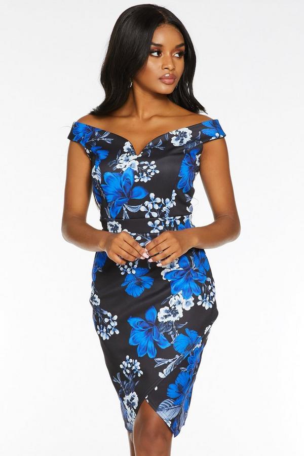 Petite Black and Royal Blue Bardot Floral Print Midi Dress
