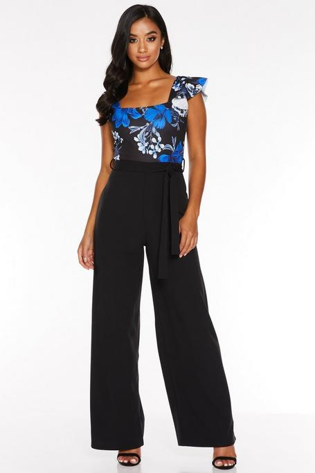 Petite Black and Royal Blue Floral Print Frill Sleeve Jumpsuit