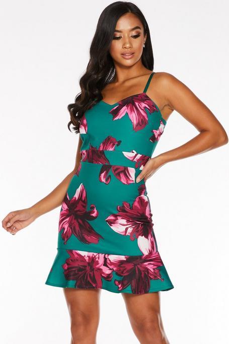 Petite Green and Pink Floral Print Frill Hem Dress