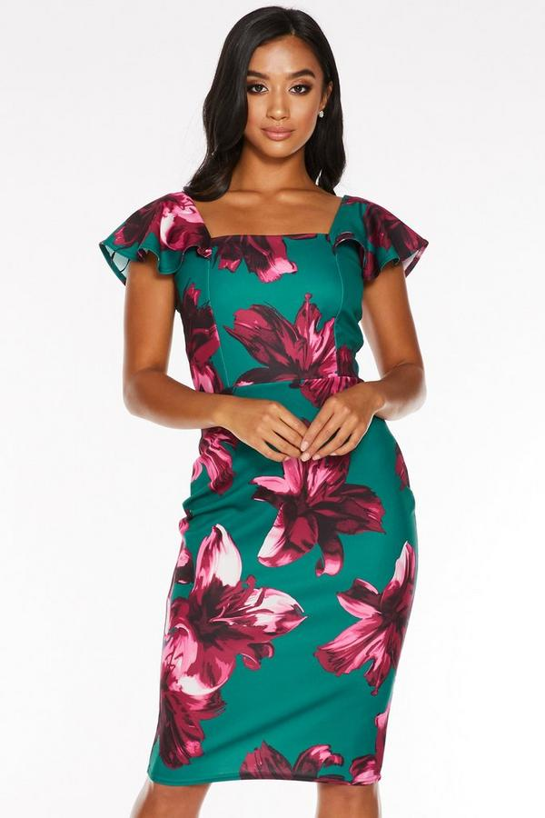 Petite Green and Pink Floral Print Square Neck Midi Dress