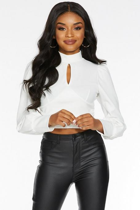 Petite Cream High Neck Keyhole Crop Top