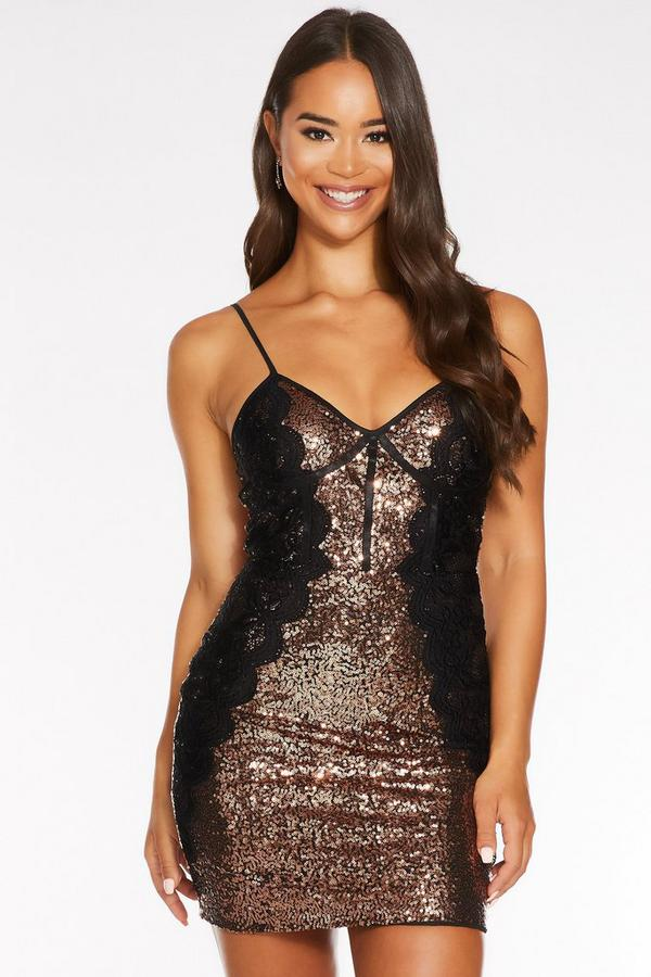 Bronze and Black Sequin Lace Bodycon Dress