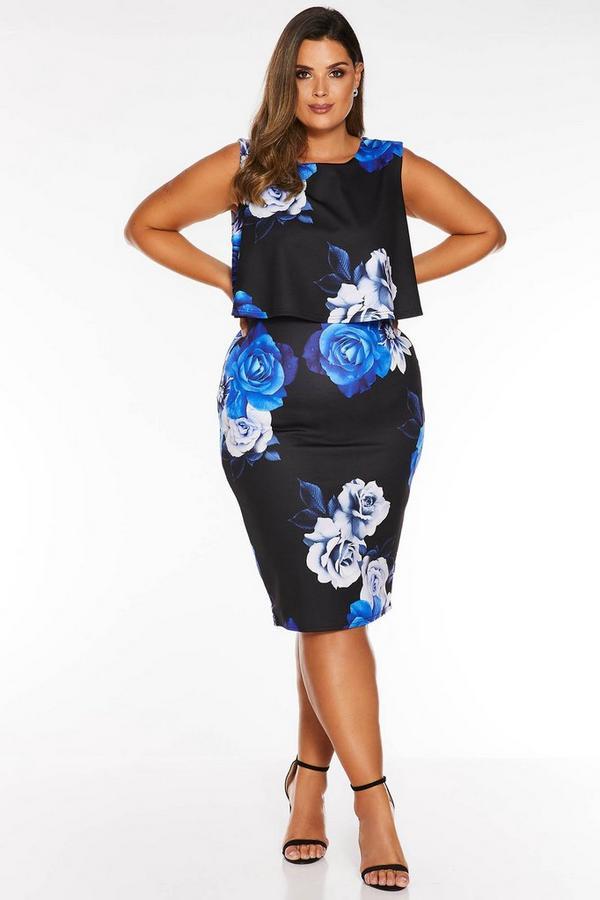 Vestido Curve Floral Negro y Azul