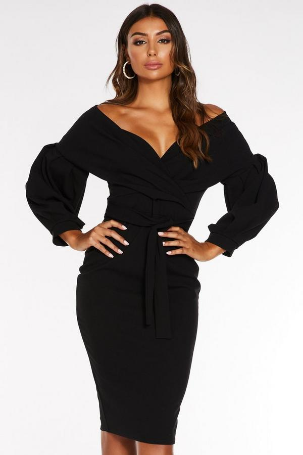 Black Bardot Wrap Long Sleeve Midi Dress