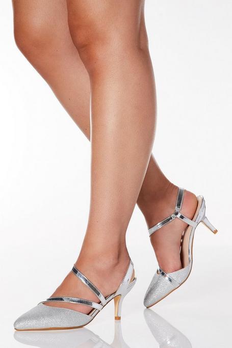 Zapatos de Tacón de Corte Ancho Plateados Brillantes