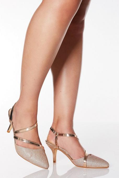 Zapatos de Tacón de Corte Ancho Oro Rosa Brillantes