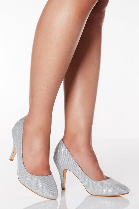 Zapatos de Tacón de Corte Ancho Plateados