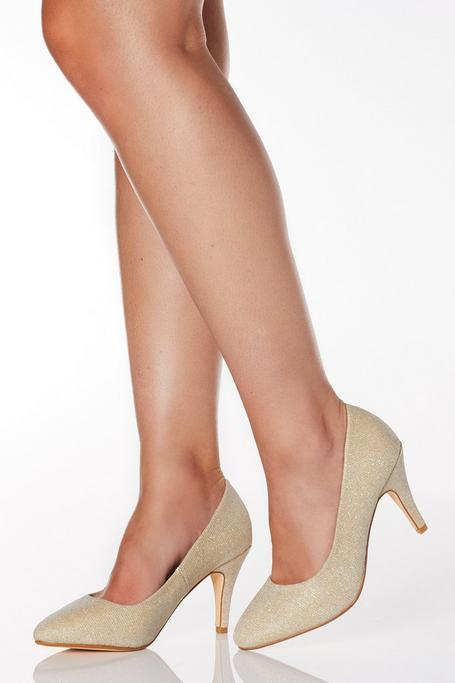 Zapatos de Tacón de Corte Ancho Dorados