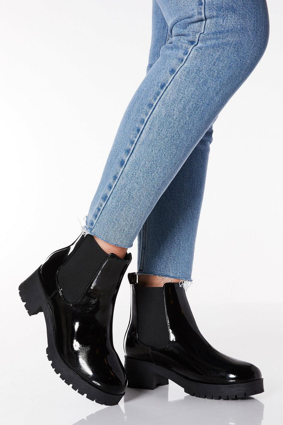 wide range limited sale sells Wide Fit Black Patent Chelsea Ankle Boots