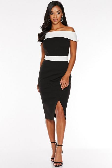 Vestido Petite Negro y Blanco con Escote Bardot
