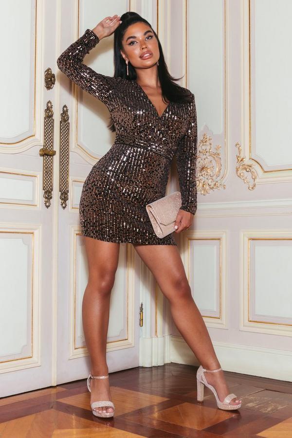 Sam Faiers Petite Black and Rose Gold Velvet Sequin Dress