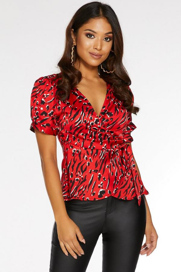 Petite Red and Black Satin Wrap Top