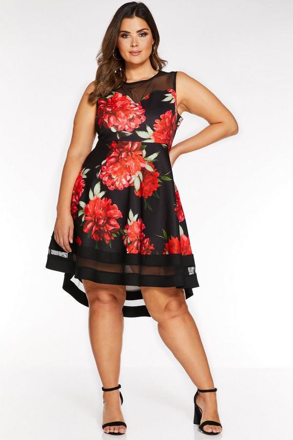 Vestido Curve Floral Negro y Rojo con Bajo Asimétrico