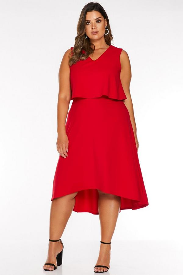 Vestido Curve Rojo con Bajo Asimétrico