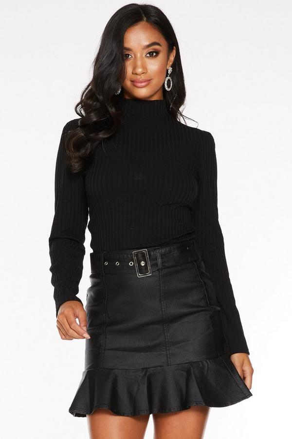 Petite Black Frill Hem Mini Skirt