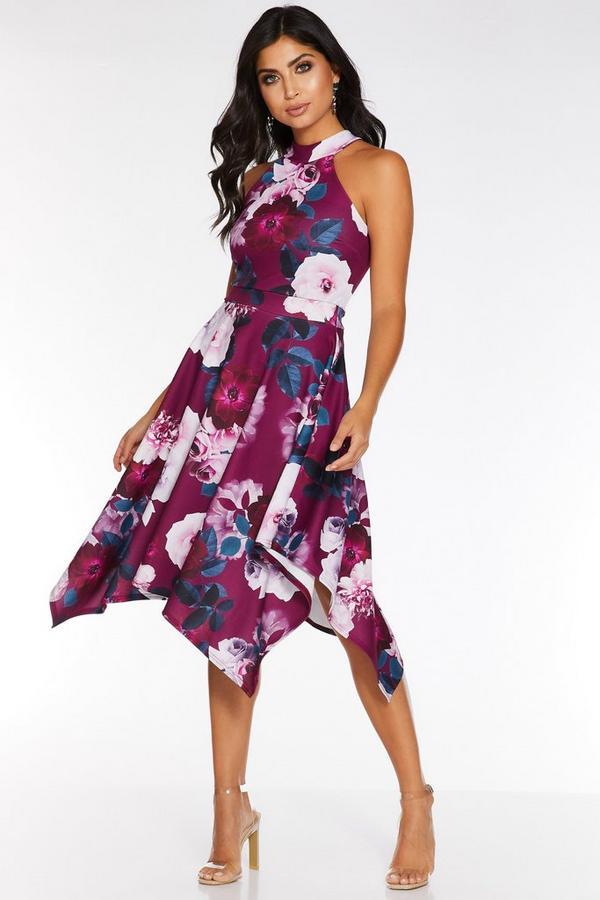Vestido Floral Cereza con Bajo Asimétrico