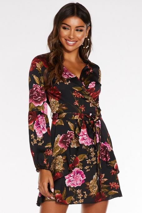 Multicolored Satin Floral Print Wrap Dress