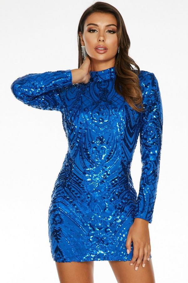 Sam Faiers Royal Blue Sequin Open Back Bodycon Dress