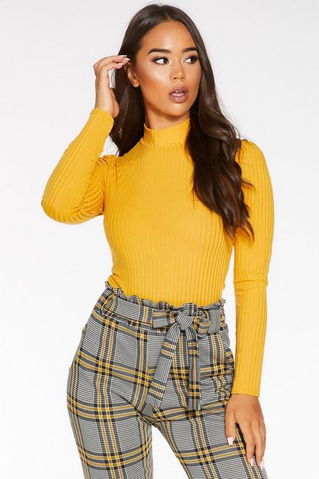 Mustard Knit Ribbed Turtle Neck Top
