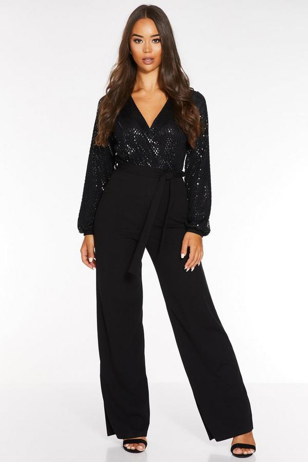 Black Sequin Wrap Long Sleeve Palazzo Jumpsuit