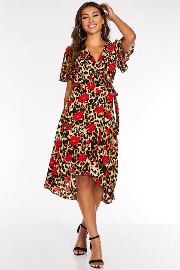Vestido Multicolor con Estampado Floral y de Leopardo