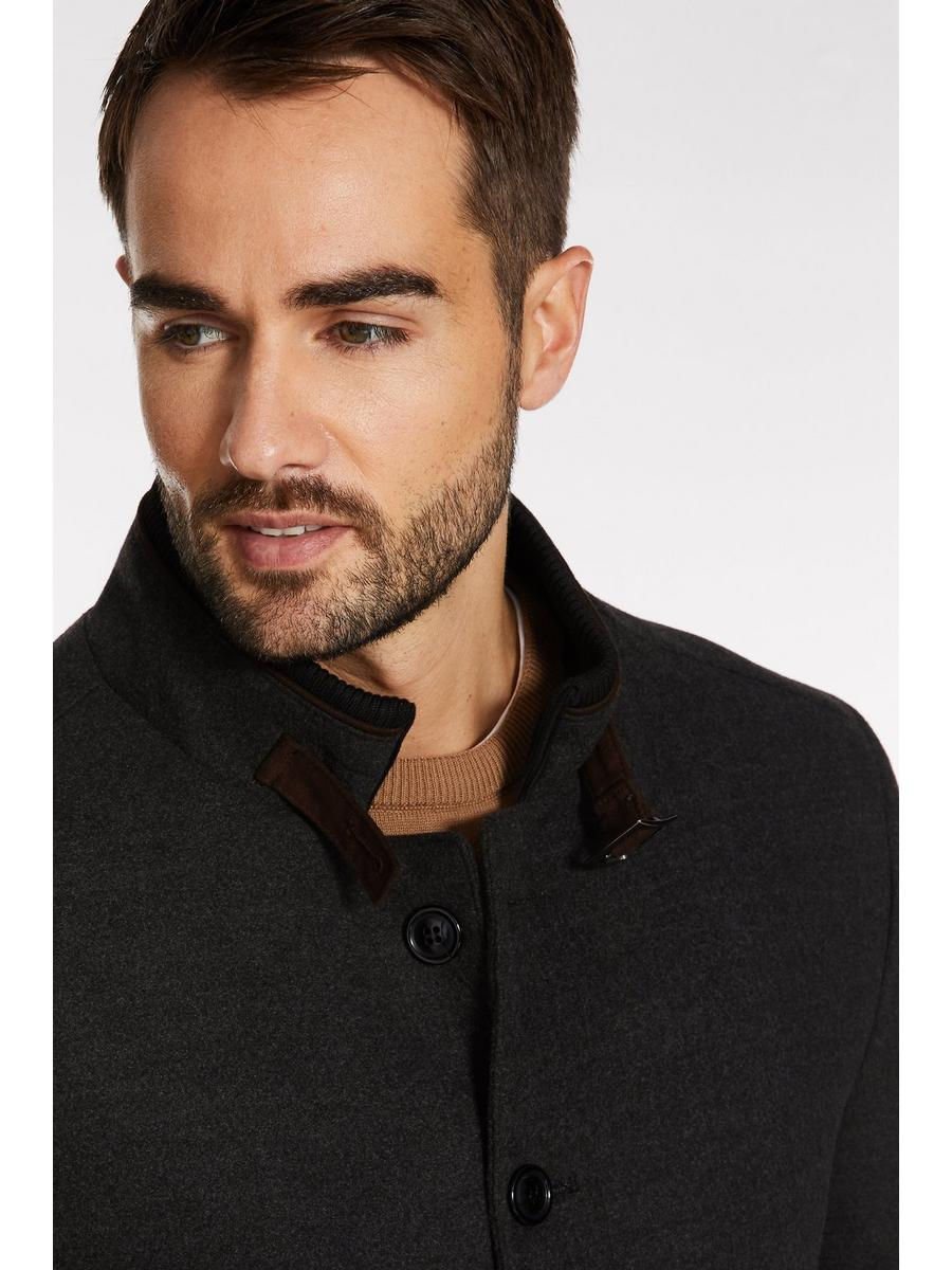 Soft Touch Belted Neck Coat In Charcoal