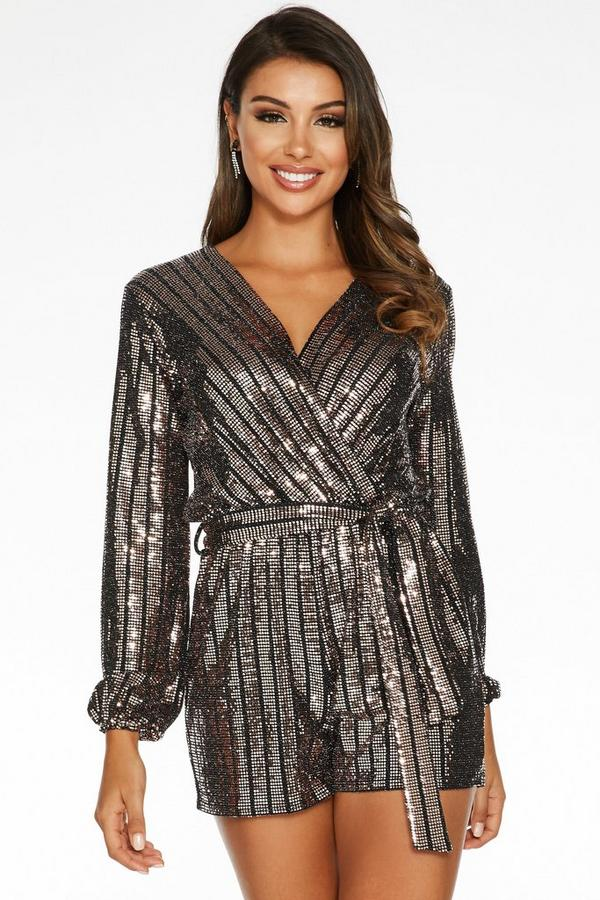 Sam Faiers Rose Gold and Black Sequin Wrap Romper