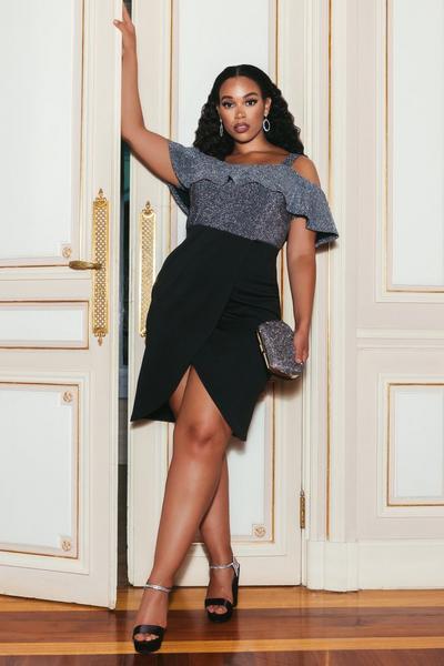 Sam Faiers Plus Size Black and Silver Glitter Midi Dress