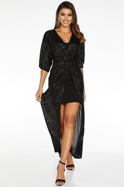 Sam Faiers Black Sequin Knot Front Batwing Maxi Dress