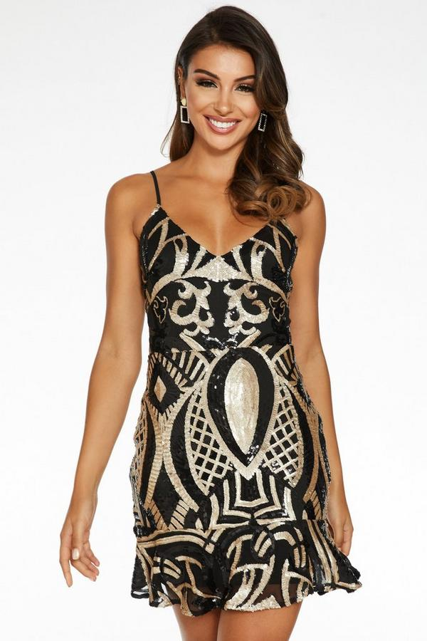 Sam Faiers Black and Gold Sequin Lace Up Back Frill Hem Dress