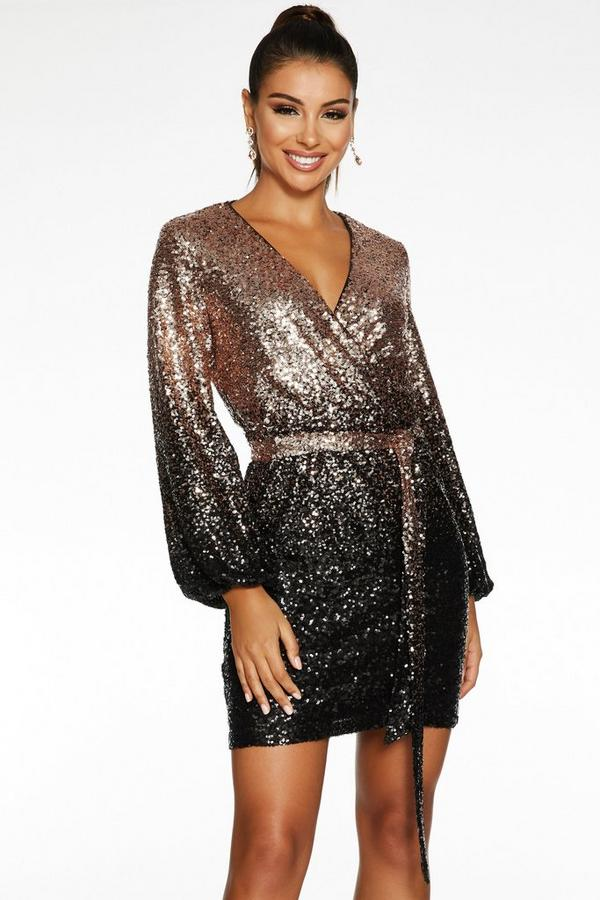 Sam Faiers Black and Gold Ombre Sequin Wrap Dress