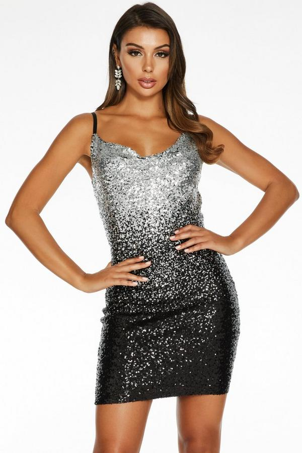 Sam Faiers Black and Silver Ombre Sequin Cowl Neck Dress