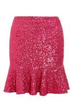 Sam Faiers Pink Sequin Frill Hem Skirt
