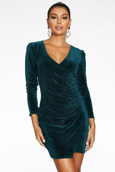 Sam Faiers Bottle Green Velvet Glitter Bodycon Dress