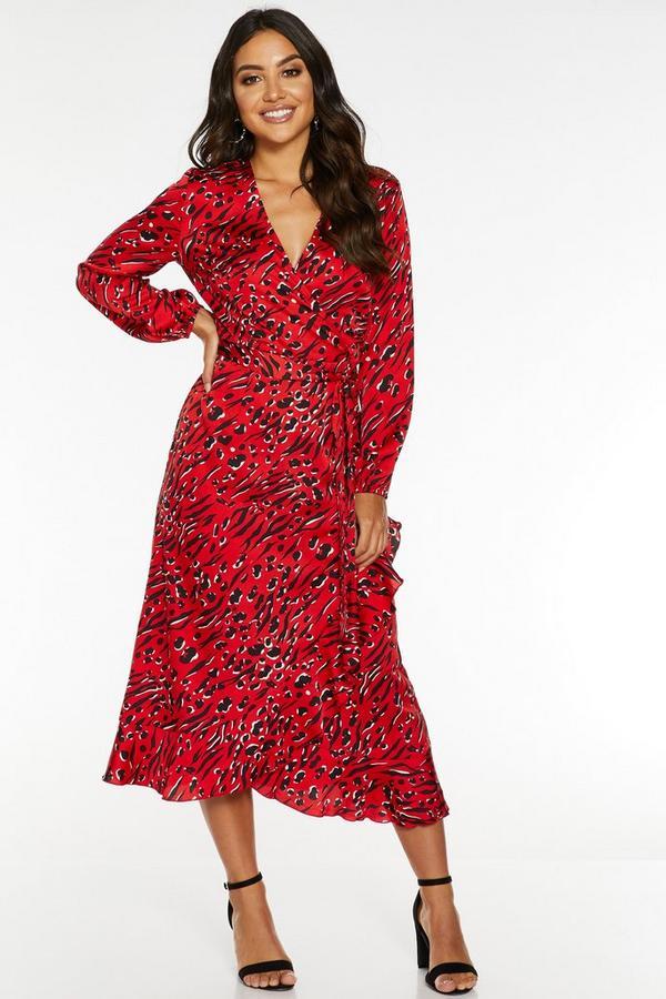 Vestido Satinado Rojo con Estampado Animal